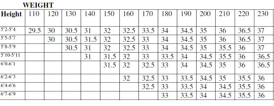 bodybuilding measurement chart
