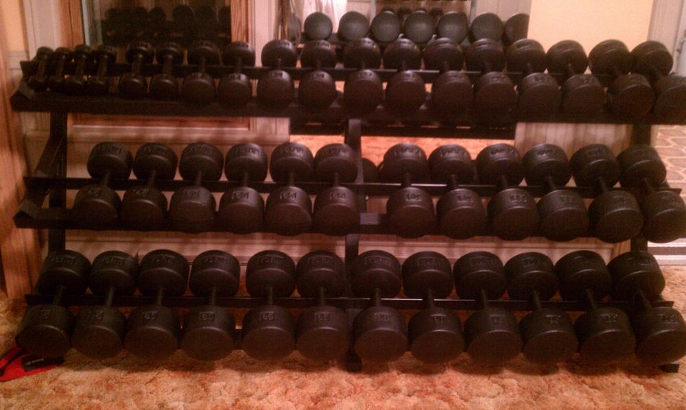 york legacy dumbbell set. he mentions that if had to do it again would go with a \ york legacy dumbbell set -