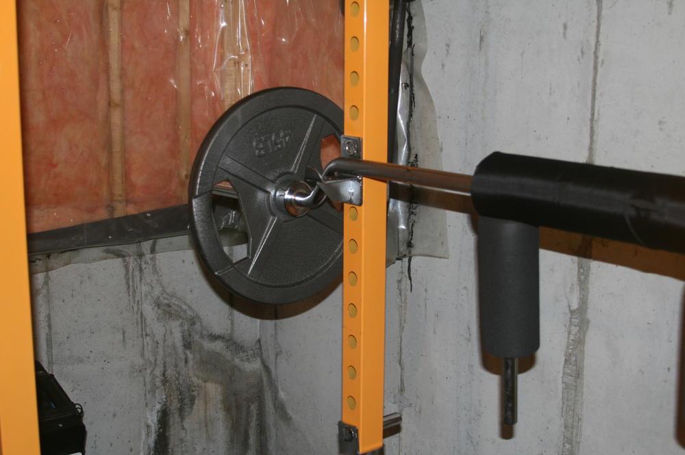 Homemade power rack j hooks crazy homemade for Homemade safety squat bar