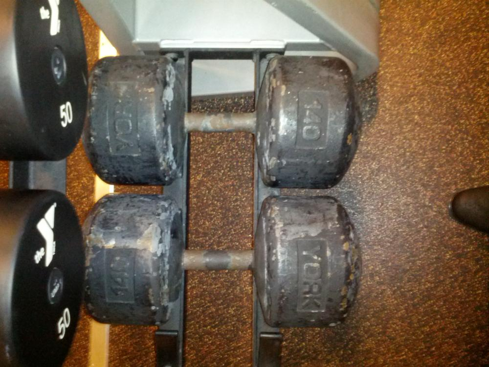 york legacy dumbbells. it\u0027s a ymca - urethane dumbbells up to 125lbs and then these 140lb york monsters sitting all by themselves. never seen anyone use them. legacy