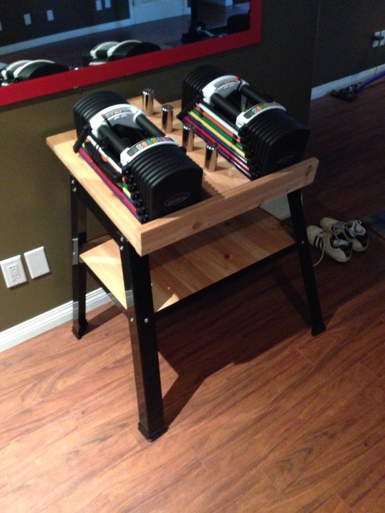 Powerblock u90 stand homemade forums for Diy dumbbell rack wood